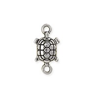 Turtle Connector 17x9mm Pewter Antique Silver Plated (1-Pc)