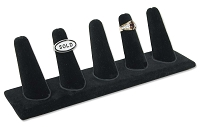 Five Ring Finger Jewelry Display - Black