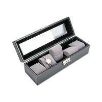 Black Leatherette Glass Top Watch Display Case