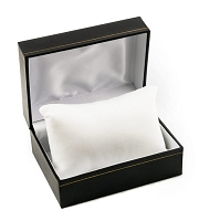 4x3 Cartier Style Black Watch Box with White Pillow