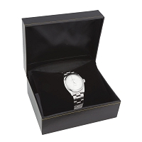 5x4 Cartier Style Black Watch Box with Black Pillow
