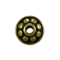 TierraCast Dotted Spacer Bead 7x4mm Antique Brass Plated (1-Pc)