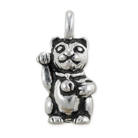 TierraCast Beckoning Cat Charm 16.5x9mm Pewter Antique Silver Plated (1-Pc)