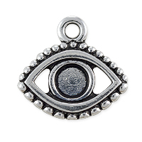 TierraCast 15x16mm Antique Silver Plated Evil Eye Charm (1-Pc)