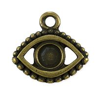TierraCast 15x16mm Antique Brass Plated Evil Eye Charm (1-Pc)