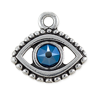TierraCast 15x16mm Antique Silver Plated Evil Eye Charm with Blue Stone (1-Pc)