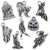 TierraCast Antique Silver Plated Pewter Halloween Charms (Set of 8)