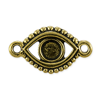 TierraCast Evil Eye Link Pewter Antique Gold Plated 11x20mm (1-Pc)