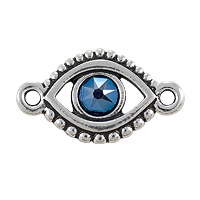 TierraCast Evil Eye Link with Blue Stone Pewter Antique Silver Plated 11x20mm (1-Pc)