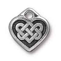 TierraCast Celtic Heart Charm 14m Pewter Antique Silver Plated