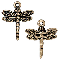 TierraCast Dragonfly Charm 16mm Pewter Antique Brass Plated (1-Pc)