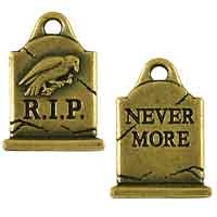 TierraCast Gravestone Charm 20x15mm Pewter Antique Brass Plated (1-Pc)