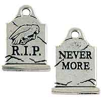 TierraCast Gravestone Charm 20x15mm Pewter Antique Silver Plated (1-Pc)