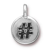TierraCast Hashtag Charm with Loop 11.5mm Antique Pewter (1-Pc)