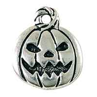 TierraCast Jack O' Latern Charm 18x15mm Pewter Antique Silver Plated (1-Pc)