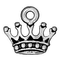 TierraCast King's Crown Charm 15x14mm Pewter Antique Silver Plated (1-Pc)