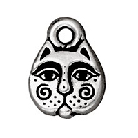 TierraCast Charm - Kitty Face 8x11mm Pewter Antique Silver Plated (1-Pc)