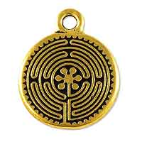 TierraCast Labyrinth Charm 17mm Pewter Antique Gold Plated (1-Pc)