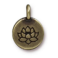 TierraCast Lotus Charm with Loop 11.6mm Antique Brass Plated (1-Pc)
