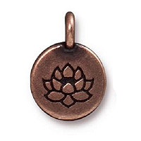 TierraCast Lotus Charm with Loop 11.6mm Antique Copper Plated (1-Pc)