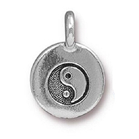 TierraCast Yin Yang Charm with Loop 11.6m Antique Silver Plated (1-Pc)