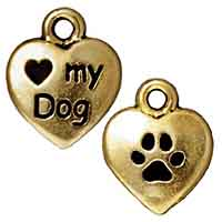TierraCast Charm - Love My Dog 10mm Pewter Antique Gold Plated (1-Pc)