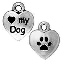 TierraCast Charm - Love My Dog 10mm Pewter Antique Silver Plated (1-Pc)