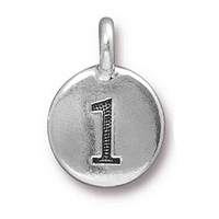 TierraCast Number 1 Charm with Loop 11.5mm Antique Pewter (1-Pc)