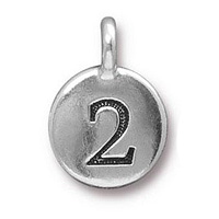 TierraCast Number 2 Charm with Loop 11.5mm Antique Pewter (1-Pc)