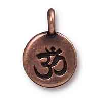 TierraCast Om Charm with Loop 11.6mm Antique Copper Plated (1-Pc)