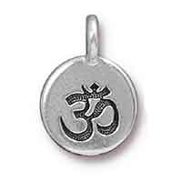TierraCast Om Charm with Loop 11.6mm Antique Silver Plated (1-Pc)