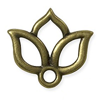 TierraCast Open Lotus Charm - 13mm Antique Brass Oxide (1-Pc)