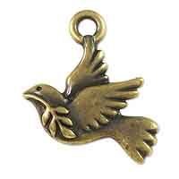 TierraCast Peace Dove Charm  21x18mm Pewter Antique Brass Plated (1-Pc)