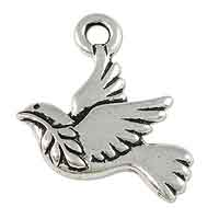 TierraCast Peace Dove Charm 19x19mm Pewter Antique Silver Plated (1-Pc)