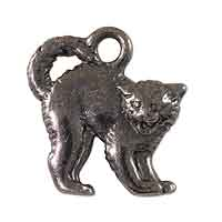 TierraCast Scary Cat Charm 16x18mm Pewter Black Plated (1-Pc)