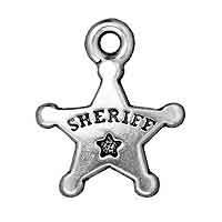 TierraCast Sheriff's Badge Charm 19x15mm Pewter Antique Silver Plated (1-Pc)