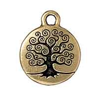 TierraCast Charm - Tree of Life 16mm Pewter Antique Gold Plated (1-Pc)