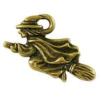 TierraCast Witch Charm 18x21mm Pewter Antique Brass Plated (1-Pc)