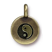 TierraCast Yin Yang Charm with Loop 11.6m Antique Brass Plated (1-Pc)