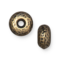 TierraCast Hammertone Rondelle Bead 7mm Brass Oxide (1-Pc)