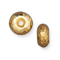 TierraCast Hammertone Rondelle Bead 7mm Bright Gold  (1-Pc)