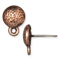 TierraCast Hammertone Round Earring Post 9mm Antiqued Copper (1-Pc)