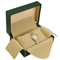 6x4 Rolex Style Green Watch Box with Tan Pillow