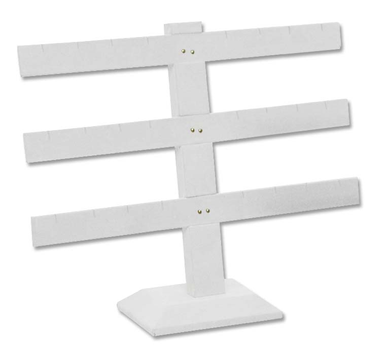 White Earring Stand T Bar 12 Pairs