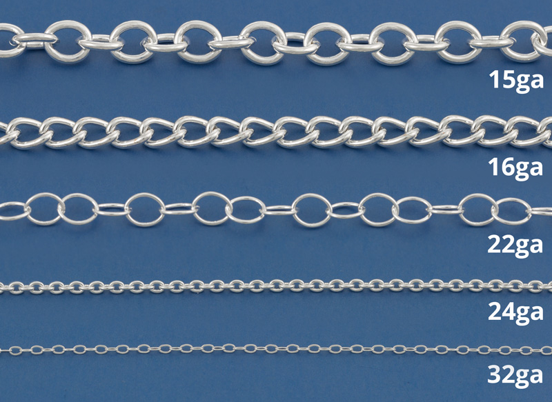 How to use chain for making jewelry in 2017 comparison of wire gauge used to make chain greentooth Gallery