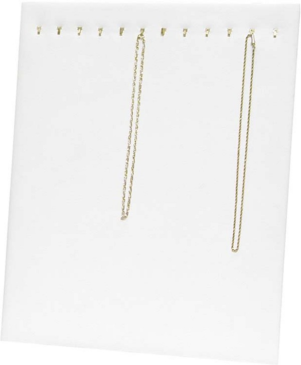 Chain Board 12 Hooks White Leatherette