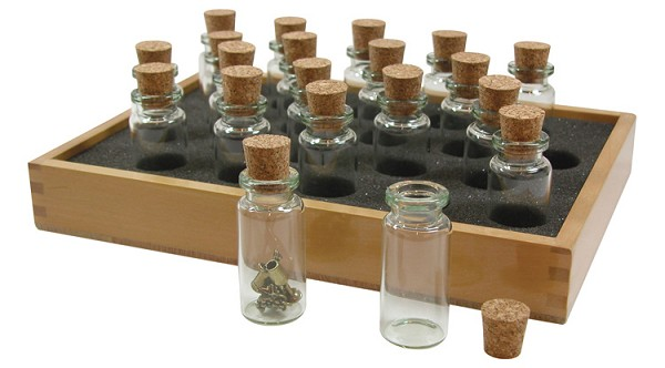 20 Glass Bead Bottles and Wood Storage Tray
