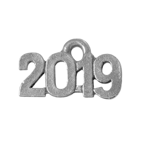 2019 Charm 14x9mm Antique Silver Plated Pewter (1-Pc)