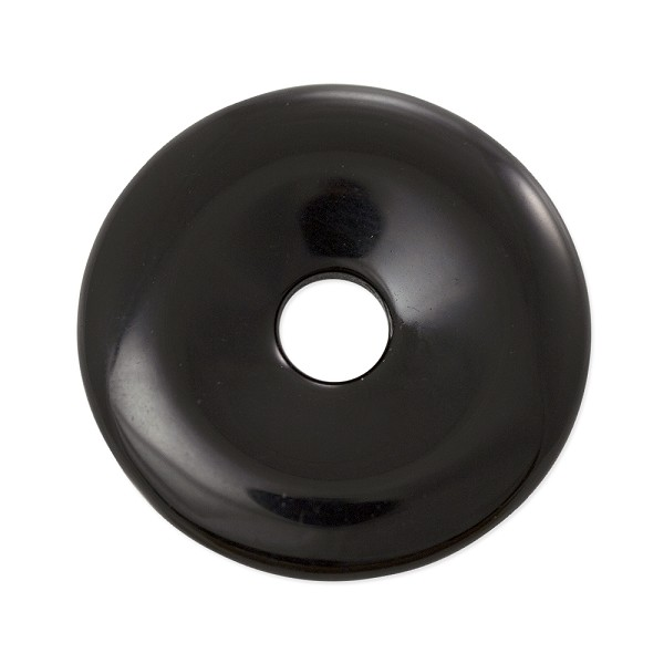 Black Obsidian Natural Stone 30mm Donut Pendant