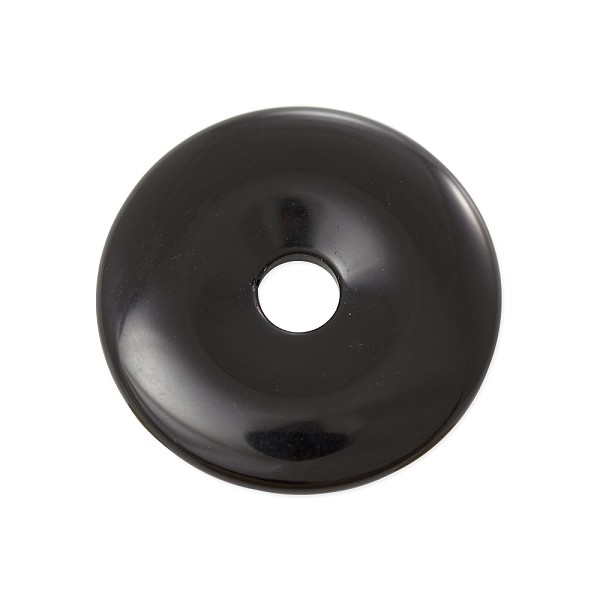 Black Obsidian Natural Stone 40mm Donut Pendant